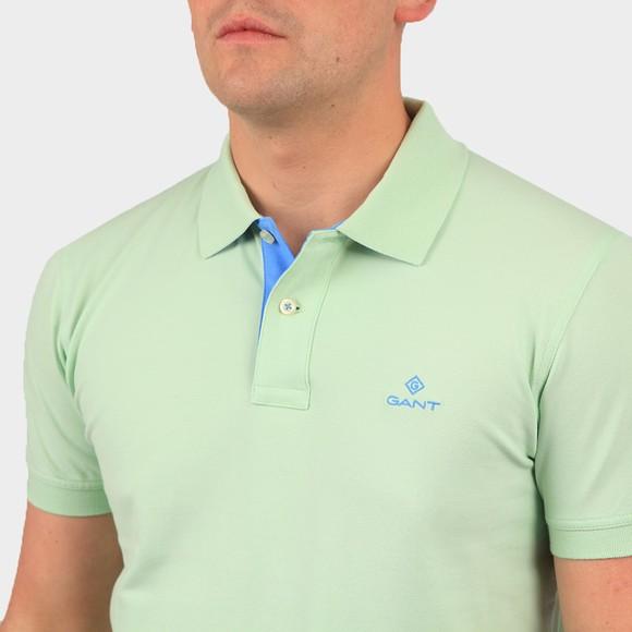 Gant Mens Green Contrast Collar Rugger Polo Shirt main image