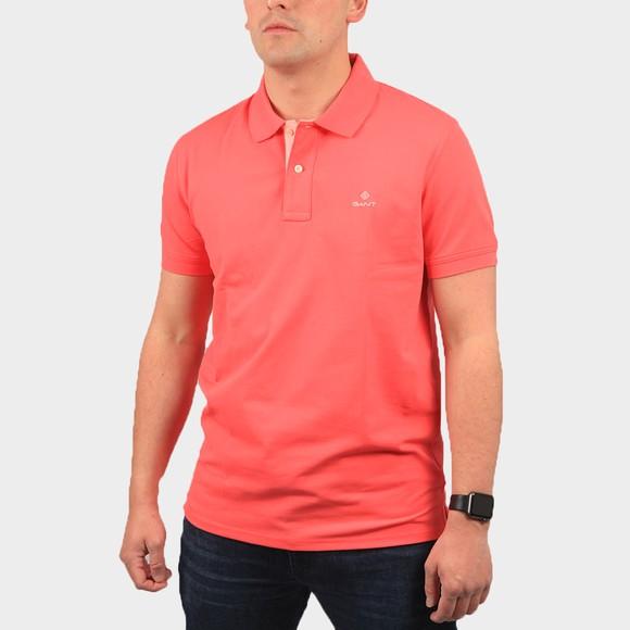 Gant Mens Pink Contrast Collar Rugger Polo Shirt main image