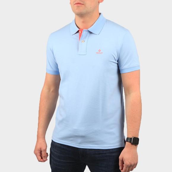 Gant Mens Blue Contrast Collar Rugger Polo Shirt