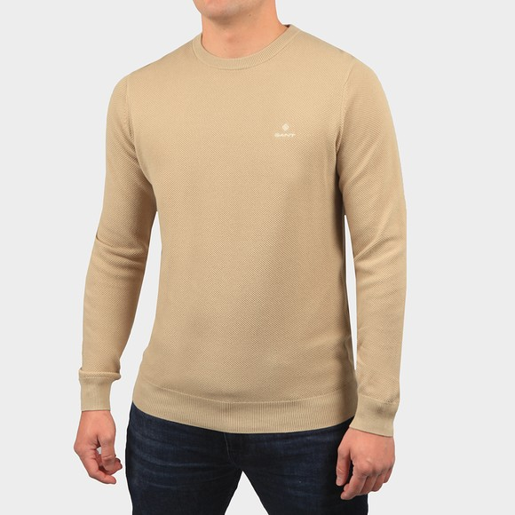 Gant Mens Beige Cotton Pique Crew Jumper