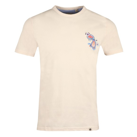 Pretty Green Mens Beige Marsham Paisley Chest T-Shirt