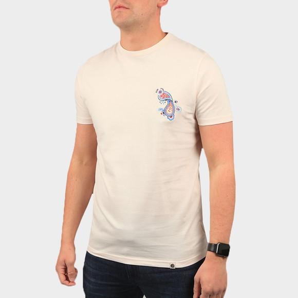 Pretty Green Mens Beige Marsham Paisley Chest T-Shirt main image