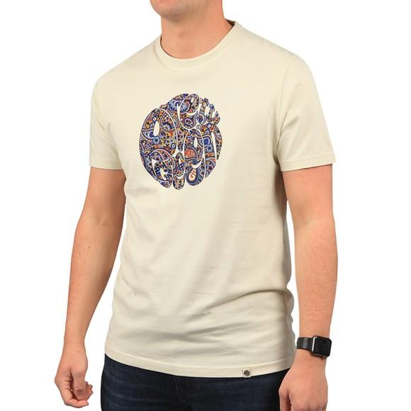 Pretty Green Mens Beige Paisley Print Logo T Shirt