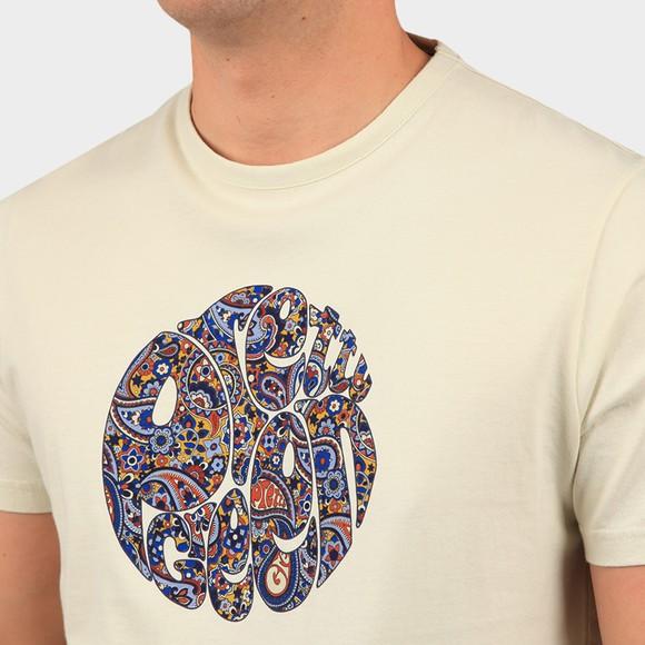 Pretty Green Mens Beige Paisley Print Logo T Shirt main image