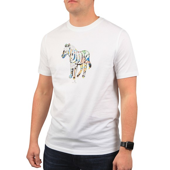 PS Paul Smith Mens White Multi Zebra T-Shirt