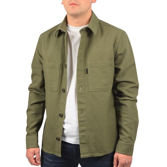 J.Lindeberg Mens Green Structured Twill Overshirt