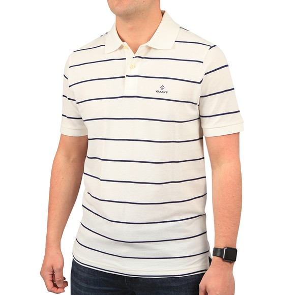 Gant Mens White Breton Stripe Rugger Polo Shirt main image