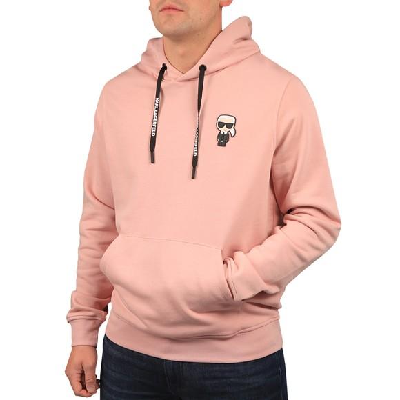 Karl Lagerfeld Mens Pink Ikonic Karl Overhead Hoody