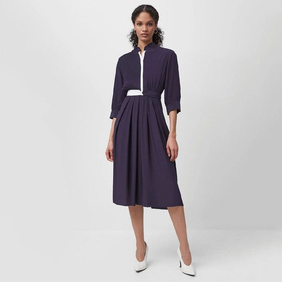 French Connection Womens Blue Aiden Drape Contrast Shirt Dress