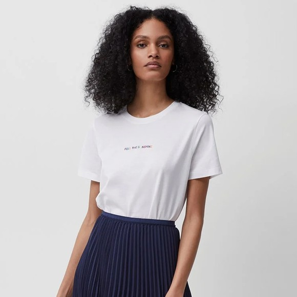 French Connection Womens White Sunshine Embroidered T Shirt
