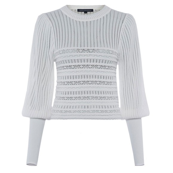 French Connection Womens White Orielle Knitted Puff Sleeve Jumper