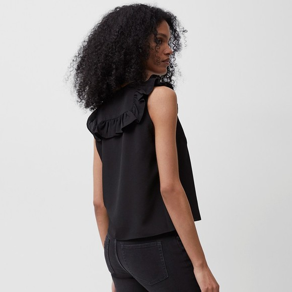 French Connection Womens Black Crepe Light V Neck Ruffle Top