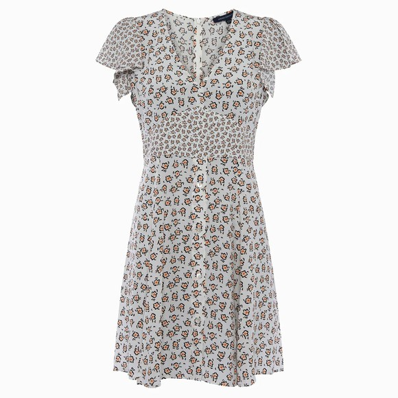 French Connection Womens White Aura Drape V Neck Dress