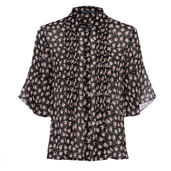 French Connection Womens Black Aura Ditsy Dobbie Pintuck Shirt