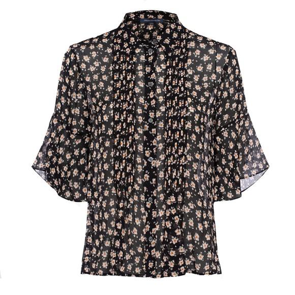 French Connection Womens Black Aura Ditsy Dobbie Pintuck Shirt main image