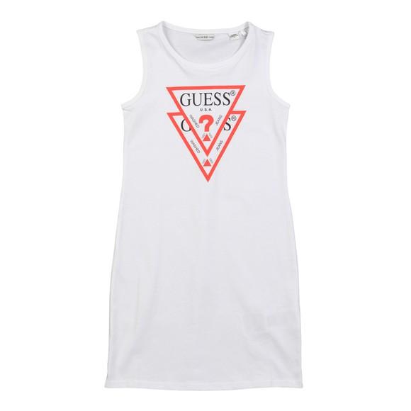 Guess Girls White Double Triangle Logo Dress