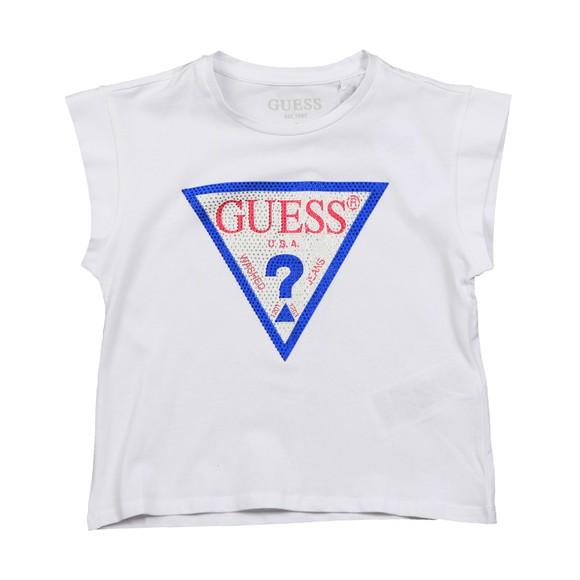 Guess Girls White Diamante Triangle T Shirt