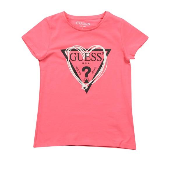 Guess Girls Pink Heart Triangle T Shirt
