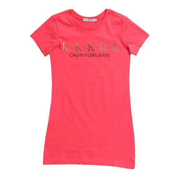 Calvin Klein Girls Pink CK Repeat Foil T Shirt Dress