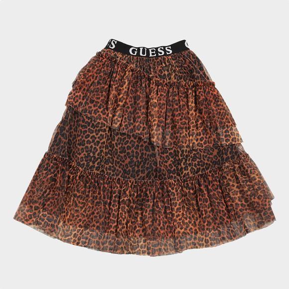 Guess Girls Brown Leopard Mesh Skirt