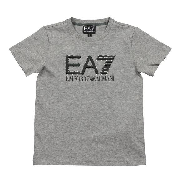 EA7 Emporio Armani Boys Grey Large Camo Logo T Shirt