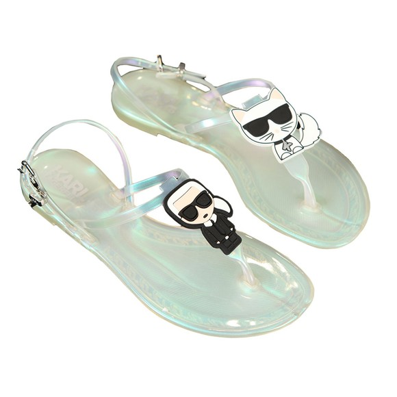 Karl Lagerfeld Womens Grey Jelly Karl Ikonic Sling Sandal