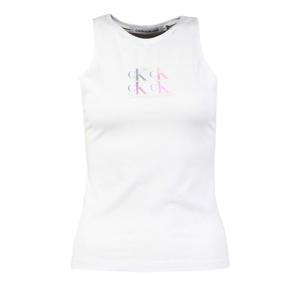 Calvin Klein Jeans Womens White Shine Logo Racer Back Vest