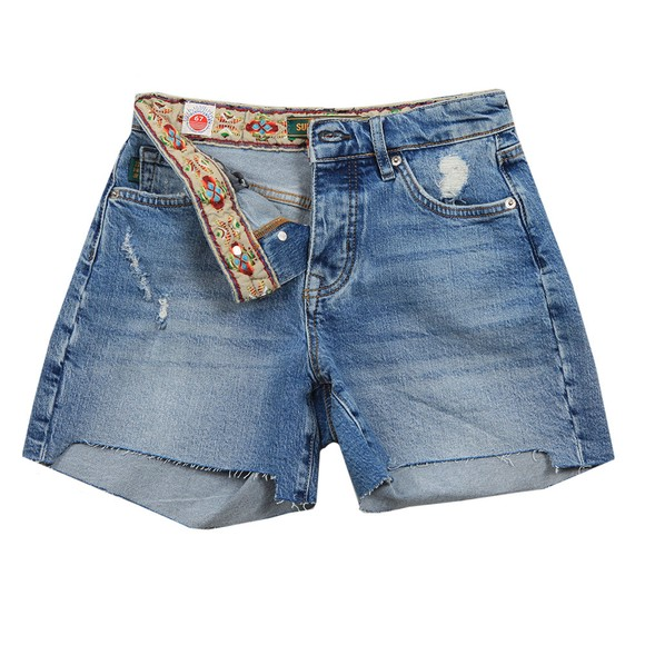 Superdry Womens Blue Mid Rise Slim Short