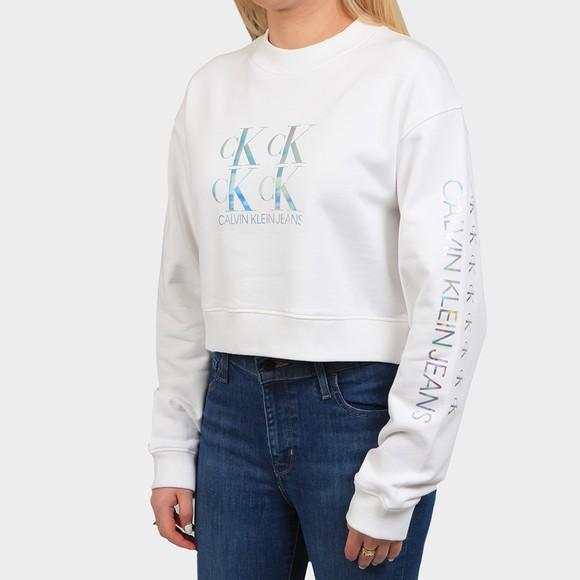 Calvin Klein Jeans Womens White Shine Logo Crew Neck Sweatshirt