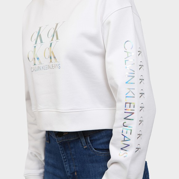 Calvin Klein Jeans Womens White Shine Logo Crew Neck Sweatshirt main image