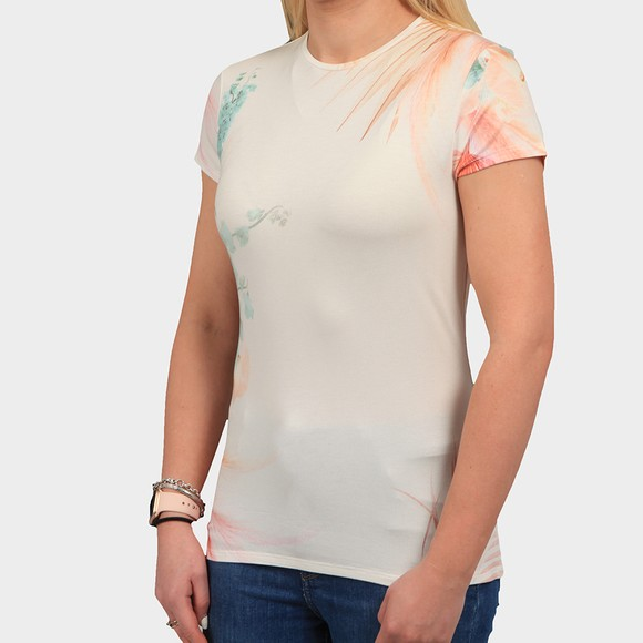 Ted Baker Womens Off-White Serahna Printed Fitted T Shirt