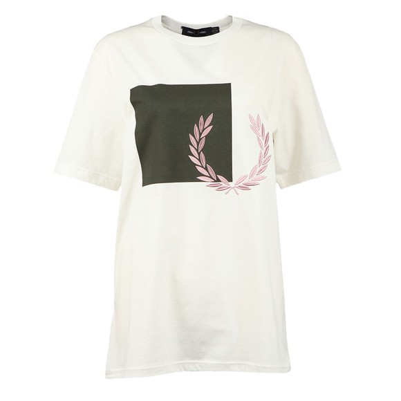 Fred Perry Womens Off-White Printed Graphic T-Shirt