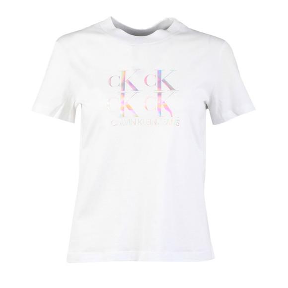 Calvin Klein Jeans Womens White Shine Logo T Shirt