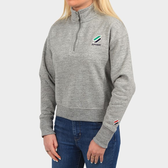 Superdry Womens Grey Sportstyle Essential 1/4 Zip Sweatshirt