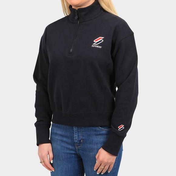 Superdry Womens Blue Sportstyle Essential 1/4 Zip Sweatshirt