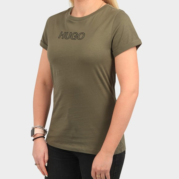 HUGO Womens Green The Slim 6 T Shirt