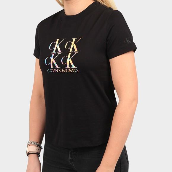 Calvin Klein Jeans Womens Black Shine Logo T Shirt