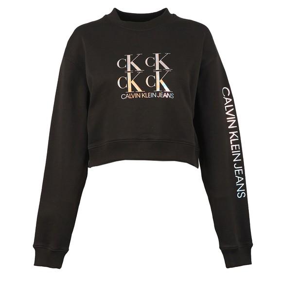 Calvin Klein Jeans Womens Black Shine Logo Crew Neck Sweatshirt