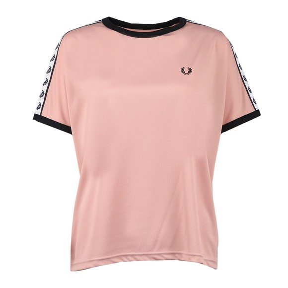 Fred Perry Womens Pink Boxy Taped Ringer T Shirt