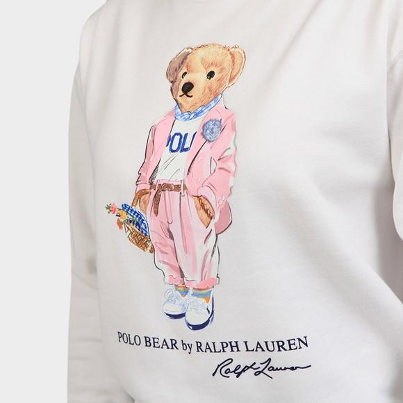 Polo Bear By Ralph Lauren Womens White Suit Bear Sweatshirt