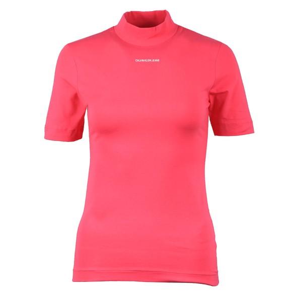 Calvin Klein Jeans Womens Pink Micro Branding Stretch High Neck T Shirt
