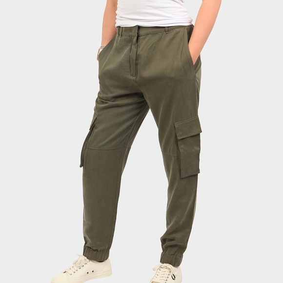 HUGO Womens Green Hisaka Cargo Trouser