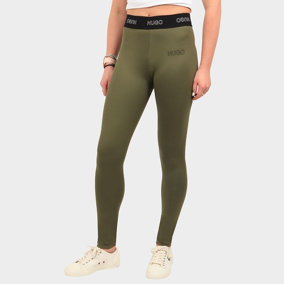 HUGO Womens Green Nasabe Logo Legging