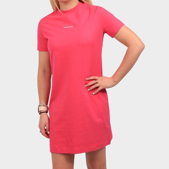 Calvin Klein Jeans Womens Pink Micro Branding T-Shirt Dress