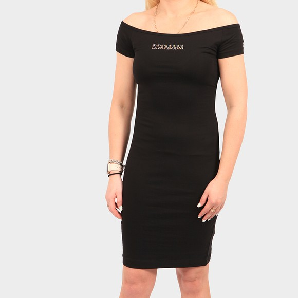 Calvin Klein Jeans Womens Black Shine Logo Bardot Dress