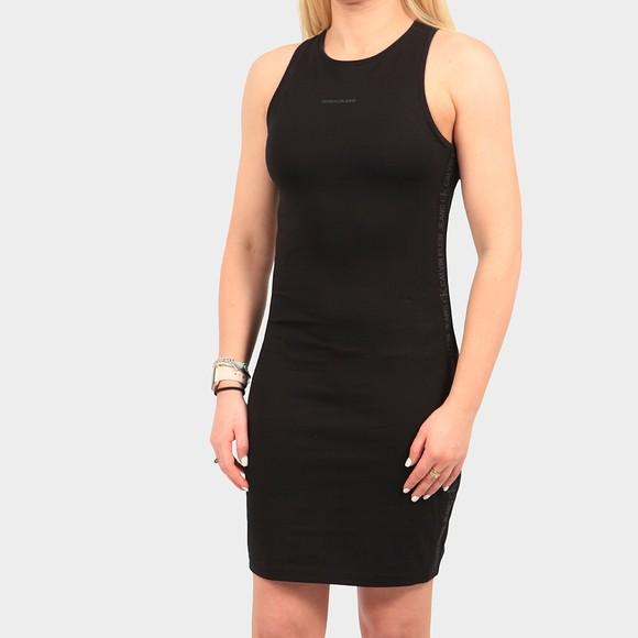 Calvin Klein Jeans Womens Black Logo Trim Racer Back Bodycon Dress