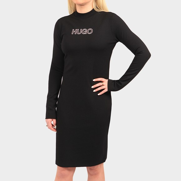 HUGO Womens Black Dassy Crew Sweater Dress