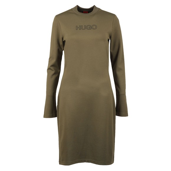 HUGO Womens Green Dassy Crew Sweater Dress