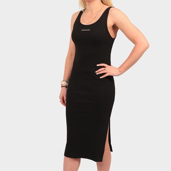 Calvin Klein Jeans Womens Black Micro Branding Strap Ribbed Dress