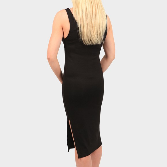 Calvin Klein Jeans Womens Black Micro Branding Strap Ribbed Dress main image